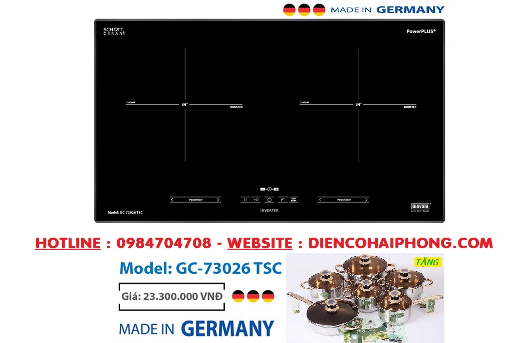 BẾP TỪ GIOVANI GC-73026 TSC GERMANY ( Tặng bộ nồi chảo )
