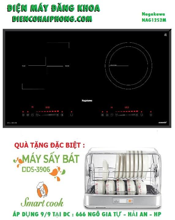 Bếp đôi điện từ hồng ngoại Nagakawa NAG1252M ( Sx Malaysia ) tặng MÁY SẤY BÁT