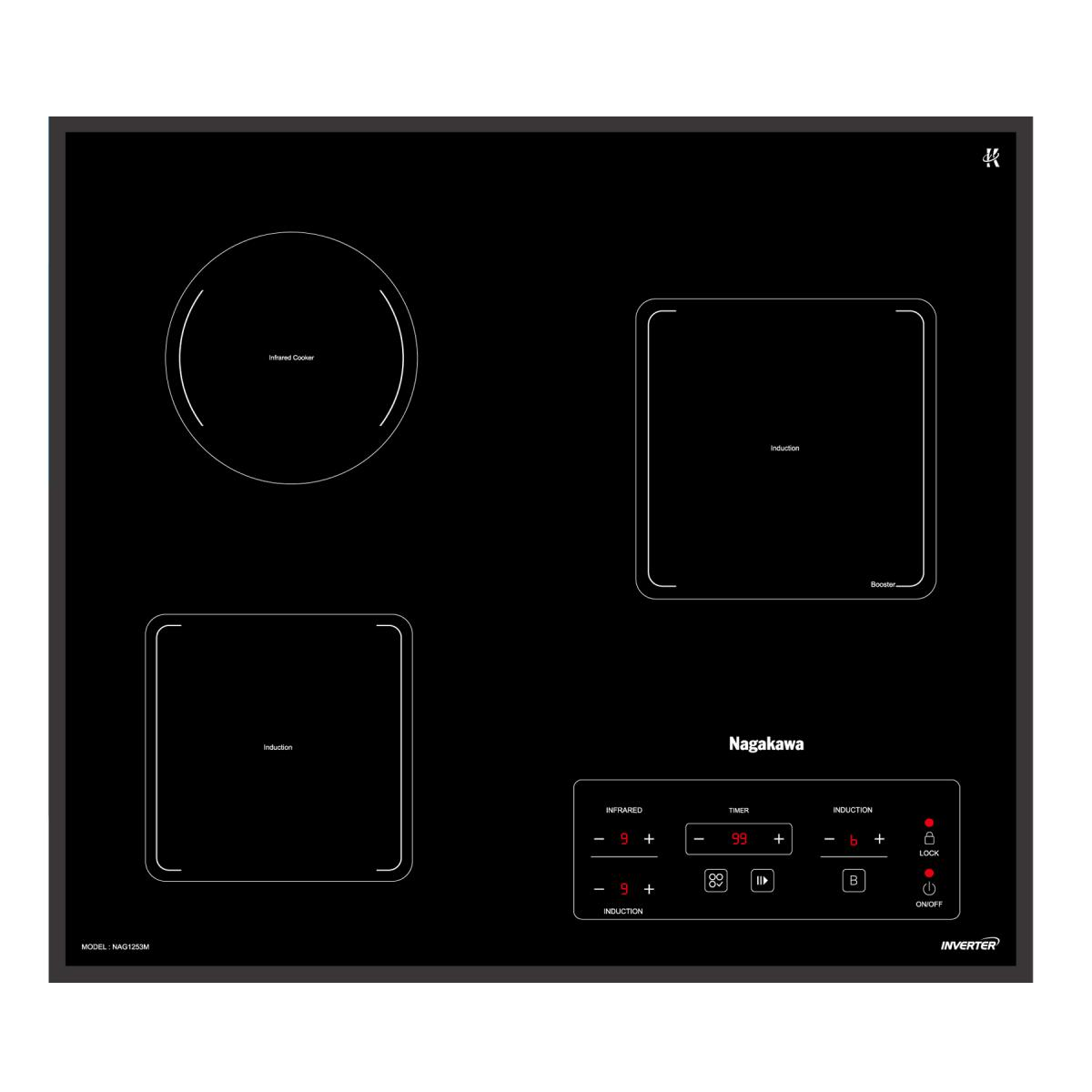 Bếp 3 lò điện từ hồng ngoại Inverter Nagakawa NAG1253M