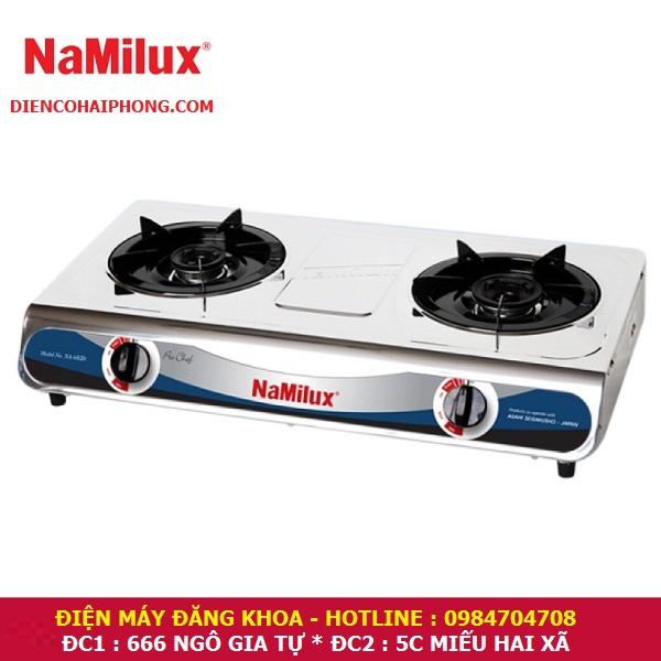 Bếp gas đôi mặt inox Namilux NA-666bsm ( NGANG 60CM )