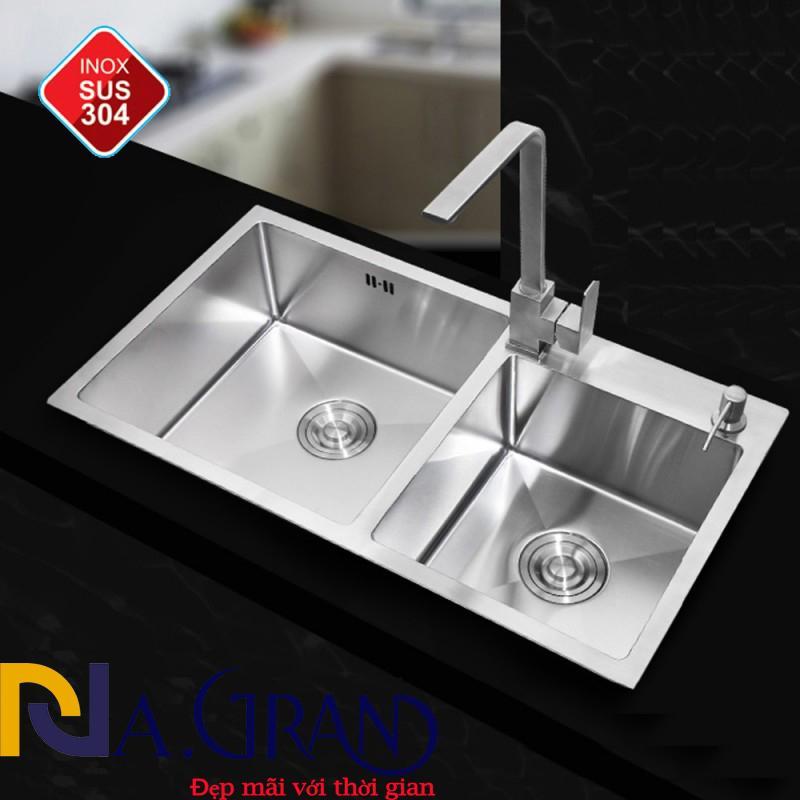 Combo CHẬU ĐÚC SUS304-7843 + Vòi vuông nóng lạnh inox304