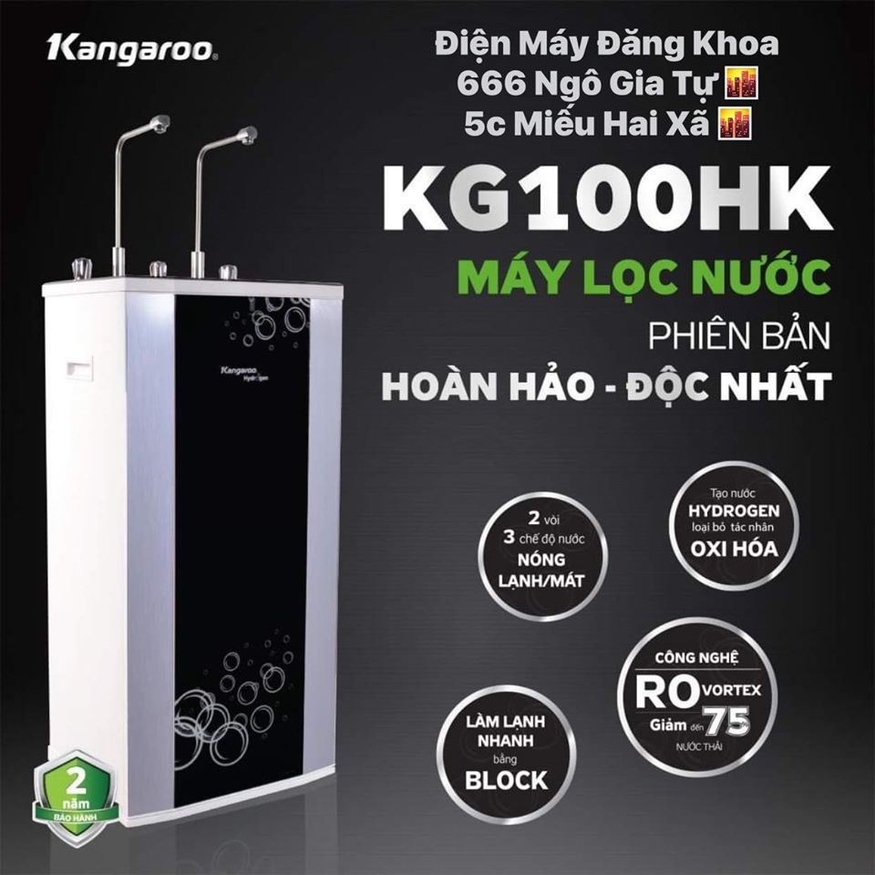 Máy lọc nước nóng lạnh Hydrogen 10 lõi Kangaroo KG100HK