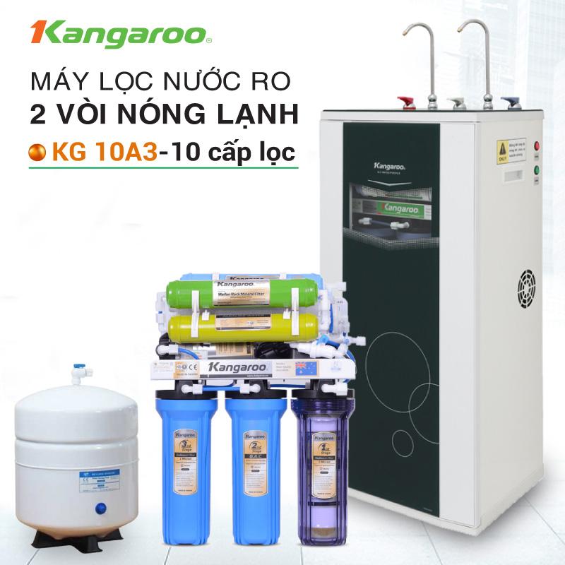 Máy lọc nước RO nóng lạnh 2 vòi KANGAROO KG10A3 (Tặng kệ để máy , bộ bát )