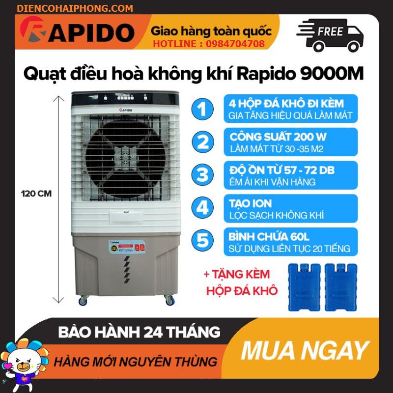 Quạt điều hòa không khí Rapido 9000M Làm Mát Dưới 35m2, Bình Chứa 60L, Điều Khiển Cơ, Công Suất 200W