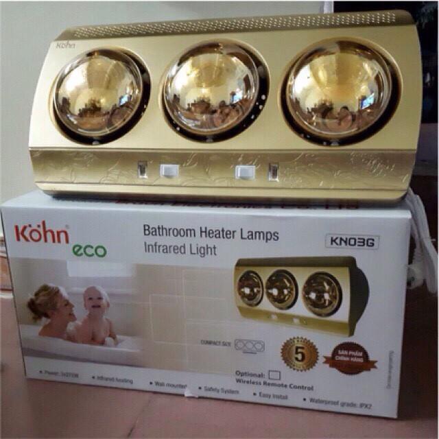 Đèn sưởi nhà tắm 3 bóng Braun Kohn Eco KN03G