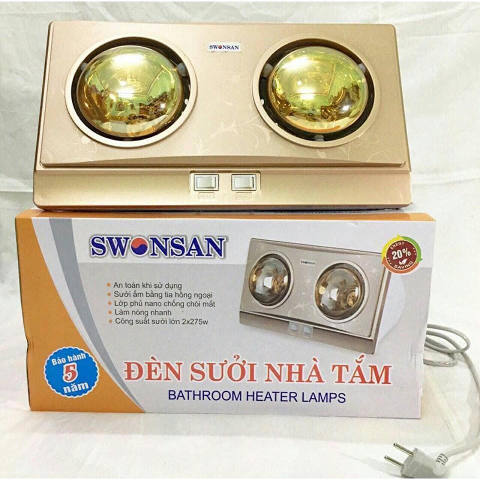 Đèn sưởi 2 bóng Swonsan 550W Bảo hành 5 năm