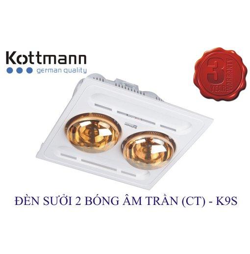 Đèn sưởi nhà tắm Kottmann 2 bóng âm trần K9-S