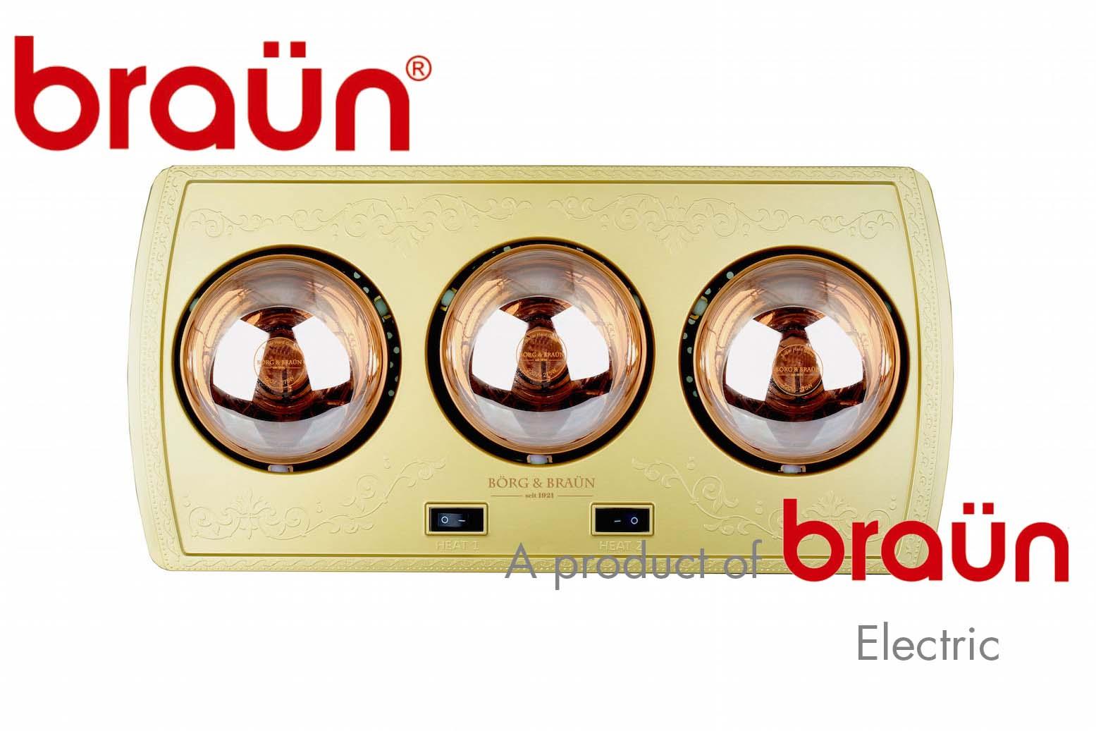 Đèn Sưởi Nhà Tắm 3 Bóng Braun Borg BU03 Bảo Hành 5 Năm