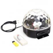 Đèn LED quả cầu xoay pha lê 7 màu + Usb