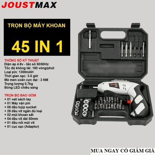 Bộ máy khoan cầm tay sạc pin 45 chi tiết Joust Max